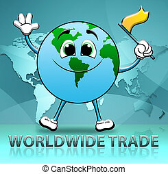 mondial, indique, illustration, commercer, e-commerce, importation, 3d