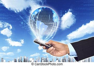 mondial, information, concept, téléphone, comment, netwrok., boîte, fond, homme affaires, intelligent, ville, futuriste, relier