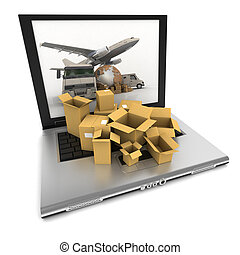 mondial, ligne, transport, organiser