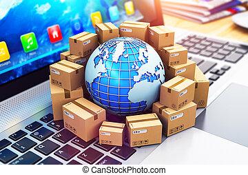 mondial, livraison, concept, expédition