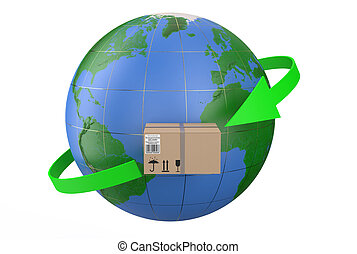 mondial, livraison, concept