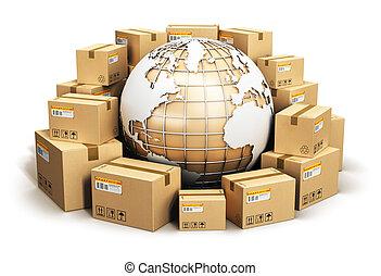 mondial, logistique, concept, global, expédition