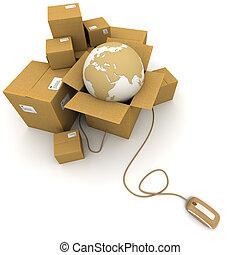 mondial, logistique, ligne