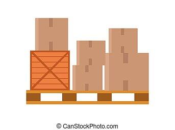 mondial, palette, boîtes, entrepôt, deliver.
