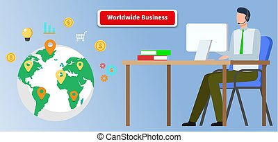 mondial, relation affaires, homme affaires, global