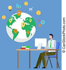 mondial, relation, business, homme affaires, global