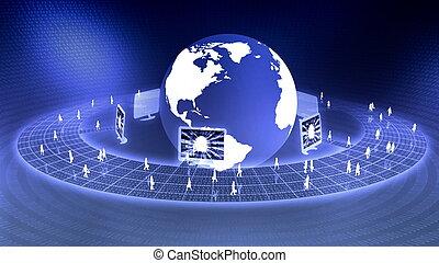 mondial, virtuel, business