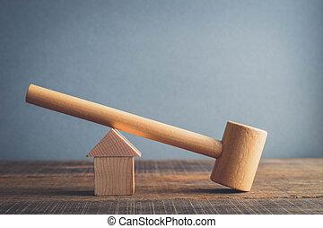 mondial, vrai, style, propriété, vendange, symbole, effet, filtre, bois, retro, maison, crisis., marteau