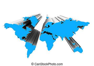 mondiale, 3d, carte
