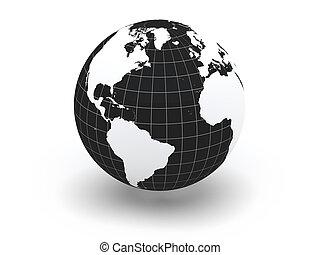 mondiale, 3d, map., globe., la terre