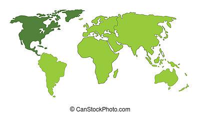 mondiale, amérique, nord, carte