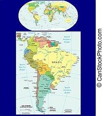 mondiale, amérique, politique, sud, carte