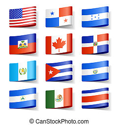 mondiale, america., flags., nord