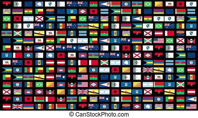 mondiale, animation, drapeaux