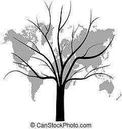 mondiale, arbre, carte