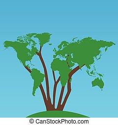 mondiale, arbre, illustration, carte