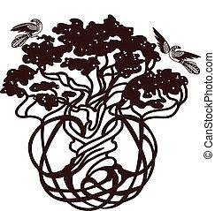 mondiale, arbre, oiseaux