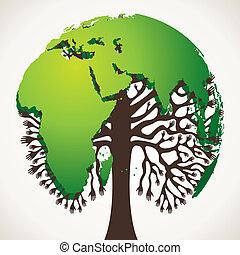 mondiale, arbre vert, carte
