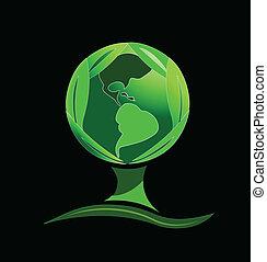 mondiale, arbre vert, pousse feuilles, logo