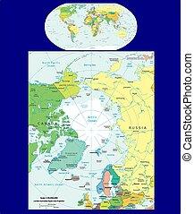 mondiale, arctique, politique, région, carte