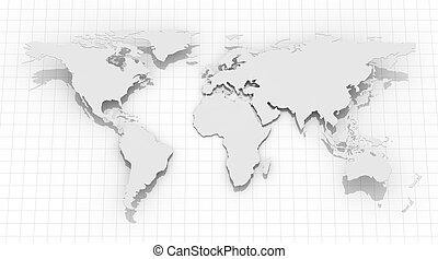 mondiale, arrière-plan grille, carte