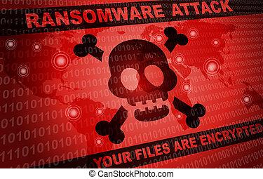 mondiale, attaque, pirate informatique, fond, ransomware, autour de, malware