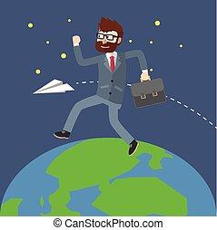 mondiale, autour de, homme affaires