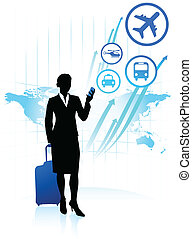 mondiale, autour de, homme affaires, voyager