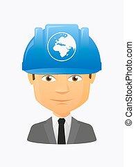 mondiale, avatar, ouvrier, asie, régions, afrique, globe, europe