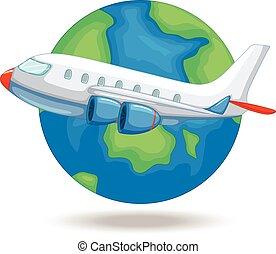mondiale, avion, voler, autour de
