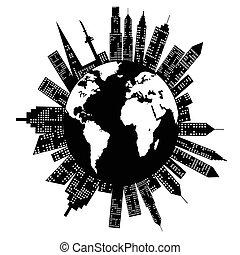 mondiale, bâtiments, autour de