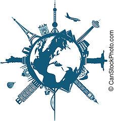 mondiale, bâtiments, la terre