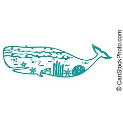 mondiale, baleine, mer