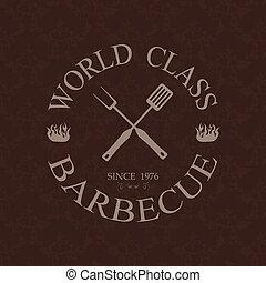 mondiale, barbecue, classe, étiquette