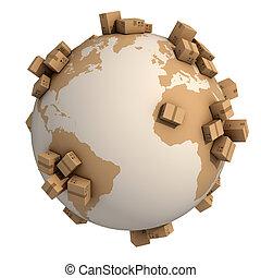 mondiale, boîtes, carton, autour de