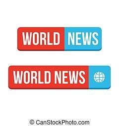 mondiale, bouton, vecteur, nouvelles