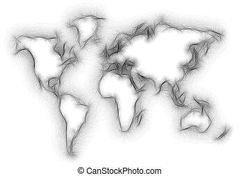 mondiale, brouillé, silhouette, carte