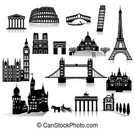mondiale, célèbre, vues, europe.eps