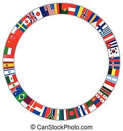 mondiale, cadre, fait, drapeaux, rond