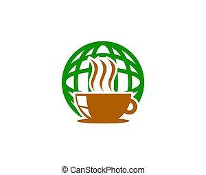 mondiale, café, conception, logo