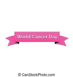 mondiale, cancer, jour, ruban