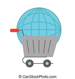 mondiale, chariot, logistique, ligne