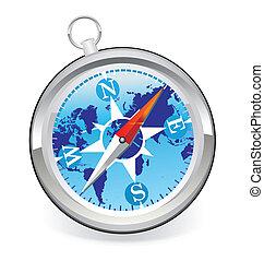 mondiale, compas, icône, carte