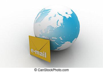 mondiale, concept, large, communication