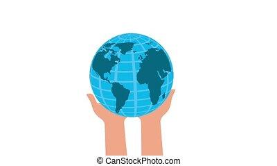 mondiale, concept, tenue, mains affaires