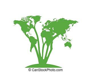 mondiale, conception, arbre, carte