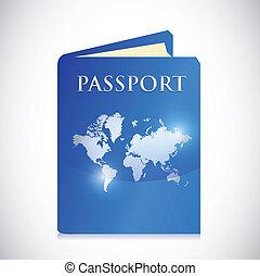 mondiale, conception, passeport, illustration, carte