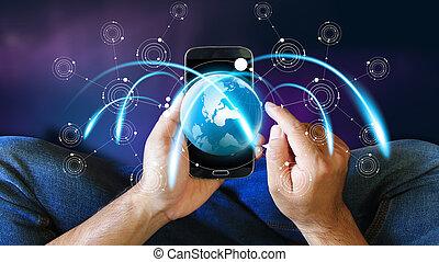 mondiale, connected., social, réseau, concept