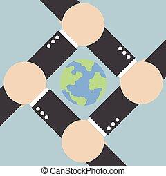 mondiale, connecter, autour de, mains