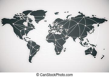 mondiale, connexion, lignes, carte